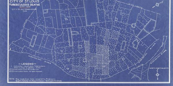 Map of tuberculosis deaths in St. Louis, 1930-1932